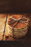 Pile of stroop waffles with jute bow Stock Image