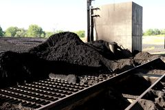 Pile of Sub-Bituminos Coal on the Grates of a Pulverizer Royalty Free Stock Photo