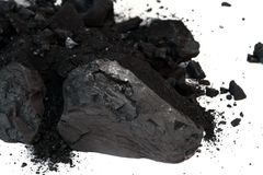 Pile of Sub-Bituminous Coal on White Background Royalty Free Stock Photos