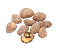 Pile of sugar coated peanuts isolated over the. White background Royalty Free Stock Photos