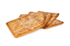 Pile of sugar crackers on white Stock Photography
