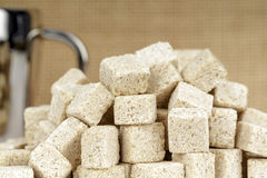 Pile of sugar cubes Stock Photo