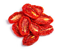 Pile of sundried tomato halves, paths, top view Royalty Free Stock Images