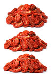 Pile of sundried tomatoes, three view angles, paths Royalty Free Stock Images