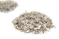 Pile of sunflower seeds and husks Stock Photos