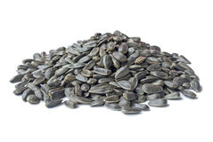 Pile of sunflower seeds isolated over white Royalty Free Stock Photos