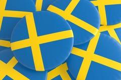 Pile of Sweden Flag Badges royalty free illustration