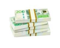 Pile of swedish 200 crowns banknotes. Bankroll of swedish 200 crowns banknotes Royalty Free Stock Photo