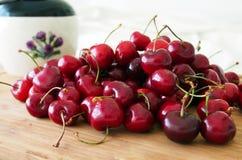 Pile of sweet cherries (Cerasus avium). Spain Stock Image