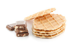 Pile of sweet waffles and chocolate Stock Image