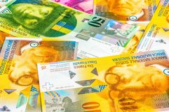 A pile of Swiss Franc currency banknotes Stock Photo