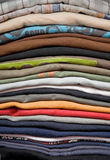 Pile of t-shirts. Pile of colorful cotton t-shirts Royalty Free Stock Photography