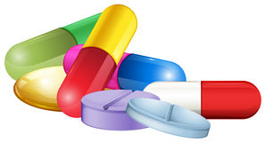 Pile of tablets and pellets Royalty Free Stock Image