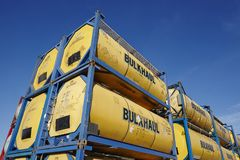 Pile of tank container Royalty Free Stock Photos
