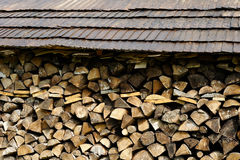 Pile with tared wooden roof Stock Photo