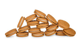 Pile of tasty cookies with cream Stock Photography