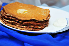 Pile of tasty pancakes in soft focus Royalty Free Stock Photos