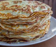 Pile of tasty pancakes. Traditional russian pancakes. Sweet breakfast concept. Dessert concept. stock image