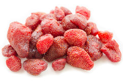 Pile of tasty red dried dehydrated strawberries Stock Photography