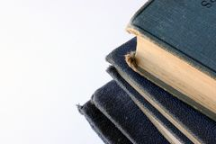 Pile of tatty old blue books Royalty Free Stock Photo