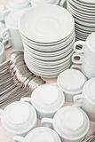 Pile tea tableware Stock Photography