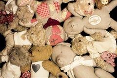 Pile of teddy bears. Pile of vintage teddy bears royalty free stock photo