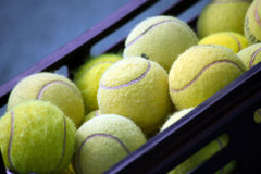 A pile of tennis balls at bag. A pile of green tennis balls at bag Royalty Free Stock Photography