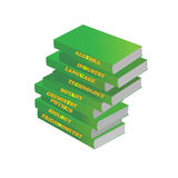 Pile of textbooks, concept. Pile of textbooks of green color on a white background, a concept Stock Illustration