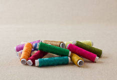Pile of thread spools or bobbins Royalty Free Stock Images