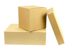 Pile of three boxes front on Stock Image