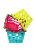 Pile of three colorful empty market baskets. Stock Image