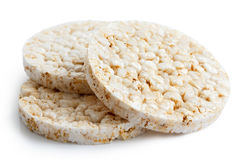 Pile of three puffed rice cakes. Stock Images