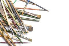 Pile of thrown down old brushes Royalty Free Stock Images