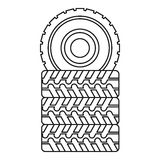 Pile of tires icon, outline style Stock Images