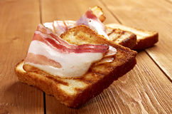 Pile  toasted bread bacon Royalty Free Stock Image