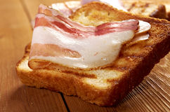 Pile  toasted bread bacon Royalty Free Stock Images