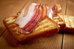 Pile  toasted bread bacon Royalty Free Stock Photography