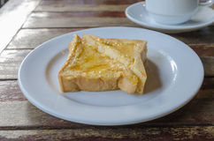Pile of toasted bread over white dish Stock Photo