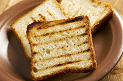 Pile  toasted bread Stock Photos