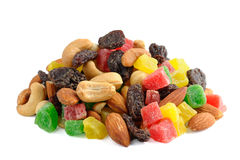 Pile of toasted nuts and candied fruit Royalty Free Stock Photo