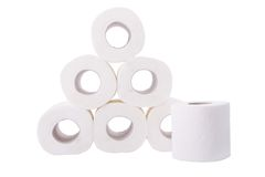 Pile of toilet paper rolls Stock Photography