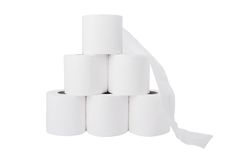 Pile of toilet paper rolls Stock Image