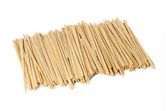 Pile of toothpicks. From wood royalty free stock photography