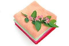 pile towels Arkivfoton