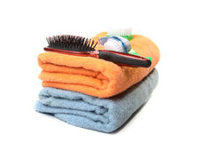 Pile of towels and a brush Stock Photo