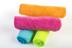 Pile of towels in diferent colours Stock Image