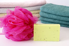 Pile of towels and Wellness Soap Stock Photos