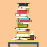Pile or tower, stack of books for school education Royalty Free Stock Photo