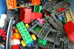 Pile of Toy Building Blocks. Pile of a variety of toy construction blocks for kids Stock Image