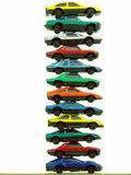 Pile of Toy Cars. A collection of small, cheap toy cars - arranged in a stack and isolated over pure white Stock Photography